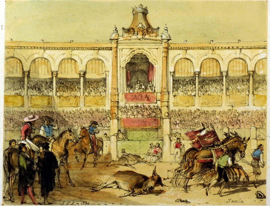 Faena de arrastre en la plaza de Sevilla. J.F. Lewis, 1836.