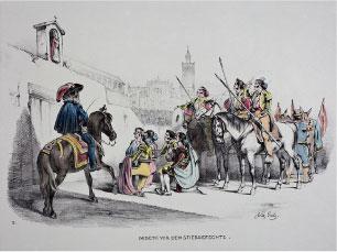 La oración antes de la corrida. W. Gaïl, c.1845-37. Litografía, fondo de color. Colección RMCS.