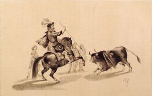 Caballero en plaza. F. Van Hallen, s.XIX. Litografía. Colección RMCS.