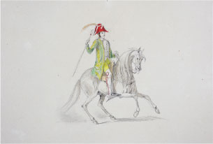 El caballero portugués. Anónimo, s.XIX. Acuarela. Colección RMCS.