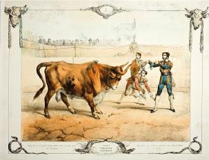 Los chulos ponen banderillas al toro. V. Adam, c.1834. Litografía, iluminada. Colección RMCS.