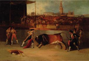 Suerte de recibir en la plaza de Sevilla. M. Rodríguez de Guzmán, c.1850. Óleo/lienzo. Colección RMCS.