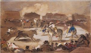 Corrida en plaza de pueblo. E. Lucas y Velázquez, s.XIX. Óleo/lienzo. Colección RMCS.