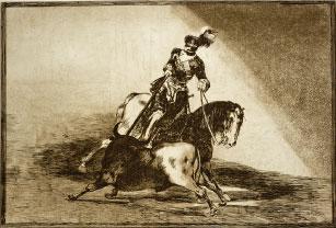 Carlos V lanceando un toro en la plaza de Valladolid. Francisco de Goya, 1815. La Tauromaquia. Aguafuerte. Colección RMCS.