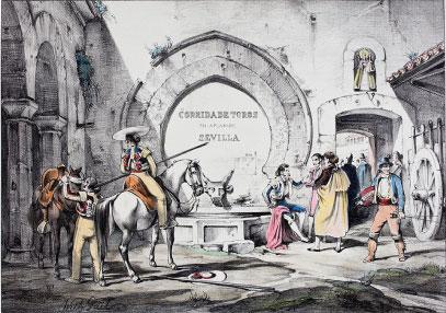 Patio de caballos en la plaza de Sevilla. W. Gaïl, c.1845-37. Litografía, fondo de color. Colección RMCS.