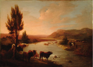 Torada vadeando un río. J. Elbo, c.1830. Archivo RMCS.