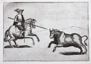 Caballero alanceando un toro. Tapia y Salcedo
