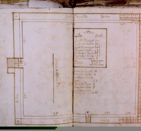 Plano de la primera plaza de madera, c.1731. Representación más antigua de plaza de la Real Maestranza. Archivo RMCS.