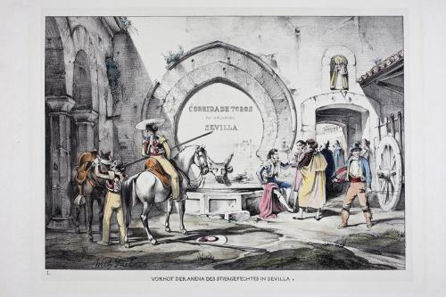 """""""Vorhof der arena des stiergefechtes in Sevilla."""""""