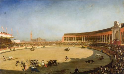 Louis-Eugene Ginain. Corrida en la plaza de toros de Sevilla presidida por los Duques de Montpensier.