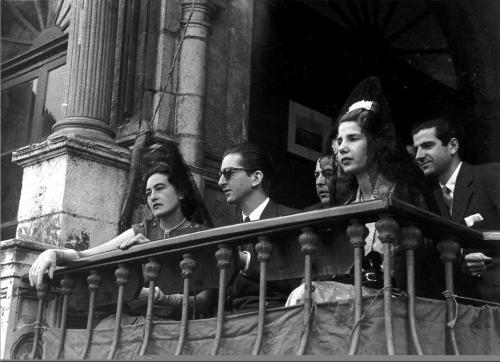 Humberto de Italia, María Pía de Saboya y los Duques de Alba, 1955.