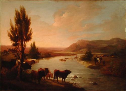 José Elbo. Toros vadeando un río.